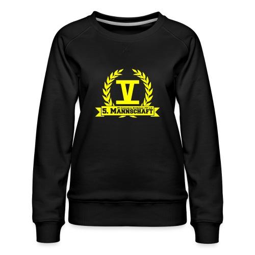 V mit College-Schriftzug - Gelb - Frauen Premium Pullover
