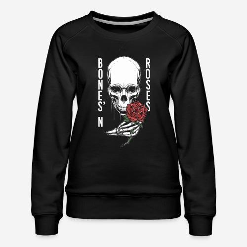 Knochen Rosen Schädel - Frauen Premium Pullover