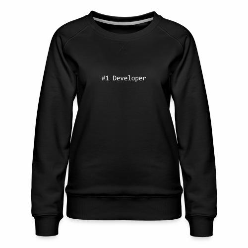 #1 Developer - White - Women's Premium Sweatshirt