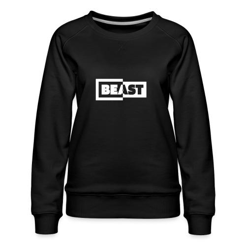00383 Beast blanco negro - Sudadera premium para mujer