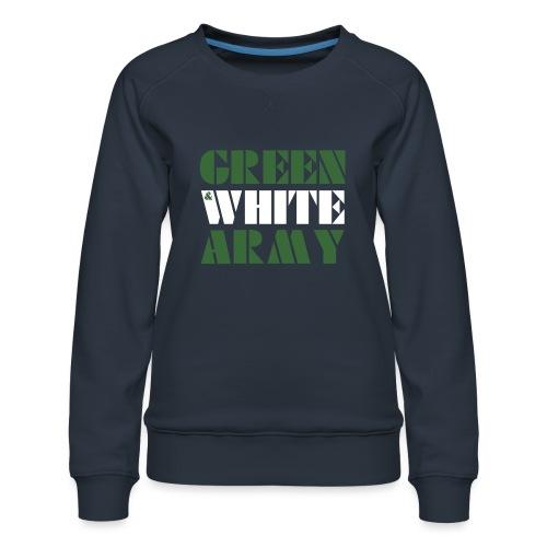 GREEN & WHITE ARMY _STENCIL_3 - Women's Premium Sweatshirt