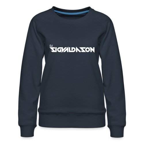 DJ logo hvid - Dame premium sweatshirt