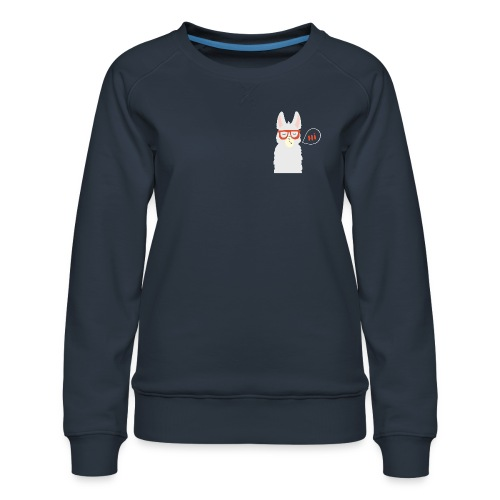 Llama with red glasses (white) - Dame premium sweatshirt