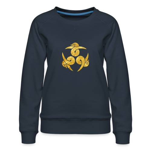 Three Geese Japanese Kamon in gold - Women's Premium Sweatshirt