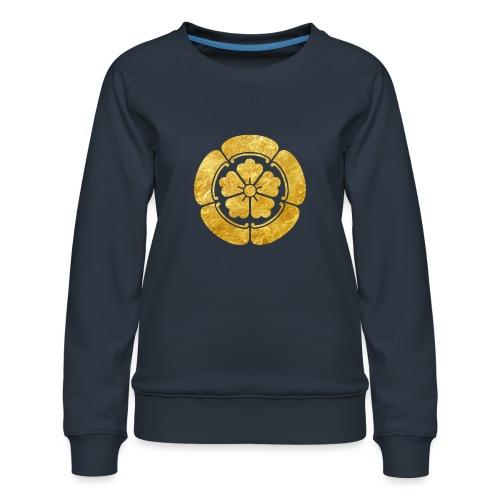 Oda Mon Japanese samurai clan faux gold on black - Women's Premium Sweatshirt