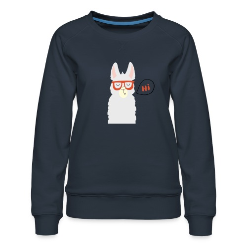 Llama with red glasses (black) - Dame premium sweatshirt