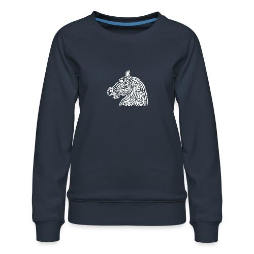 horse - cheval blanc - Sweat ras-du-cou Premium Femme