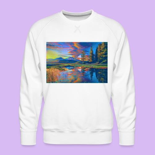 Paesaggio al tramonto con laghetto stilizzato - Felpa premium da uomo