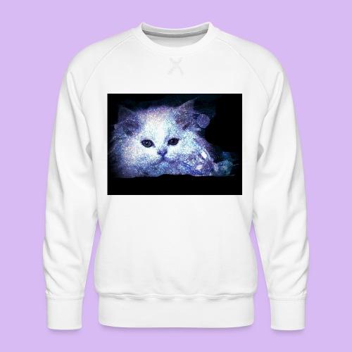 Gatto bianco glitter - Felpa premium da uomo
