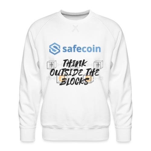 SafeCoin; Think Outside the Blocks (black + blue) - Men's Premium Sweatshirt