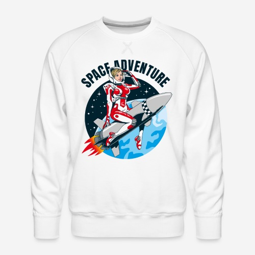 space adventure rocket girl - Männer Premium Pullover