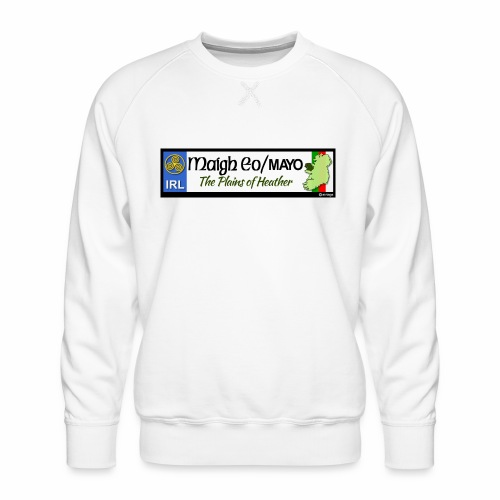 CO. MAYO, IRELAND: licence plate tag style decal - Men's Premium Sweatshirt