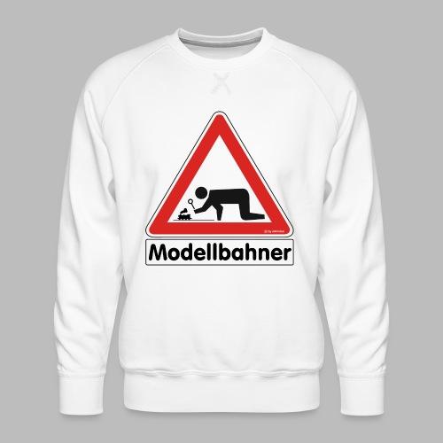 Warnschild Modellbahner Dampflok - Männer Premium Pullover