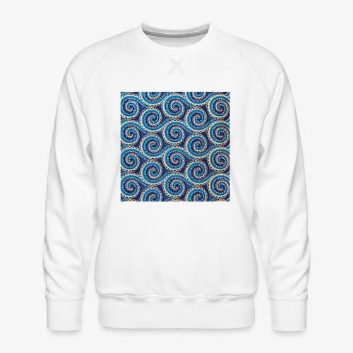 Spirales au motif bleu - Sweat ras-du-cou Premium Homme