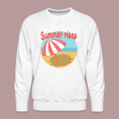 Summer rises parasol sur une plage / mer ciel été - Sweat ras-du-cou Premium Homme