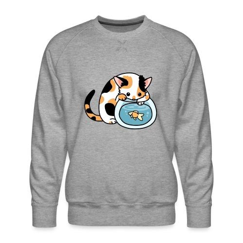 Katze mit Fisch im Glas - Männer Premium Pullover