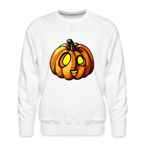 Pumpkin Halloween watercolor scribblesirii - Miesten premium-collegepaita
