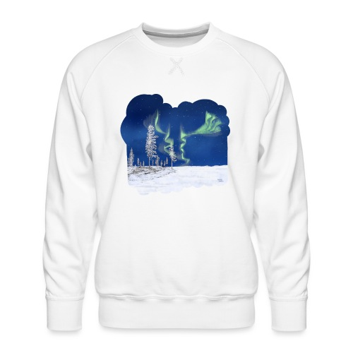 hiver avec des aurores boréales - Sweat ras-du-cou Premium Homme