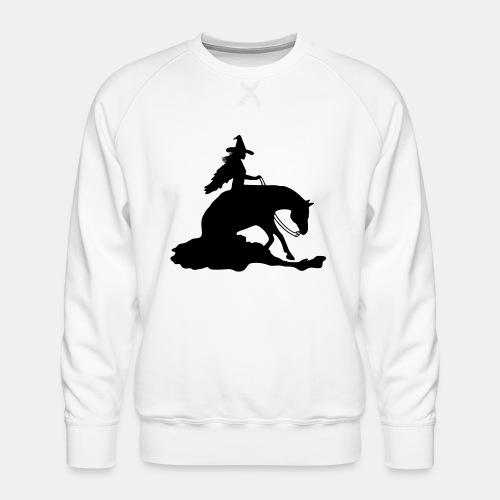 Hexe auf Westernpferd, Sliding Stop - Männer Premium Pullover