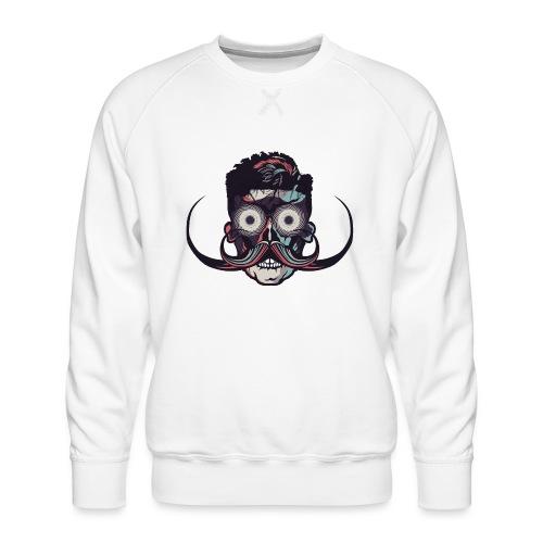 hipster tete de mort crane barbu skull moustache b - Sweat ras-du-cou Premium Homme