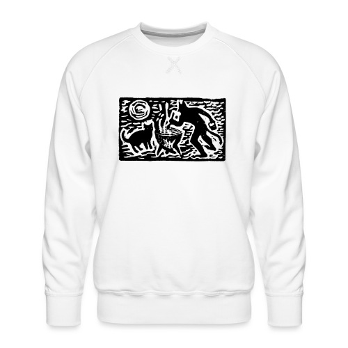 Teufel mit Katze - Männer Premium Pullover
