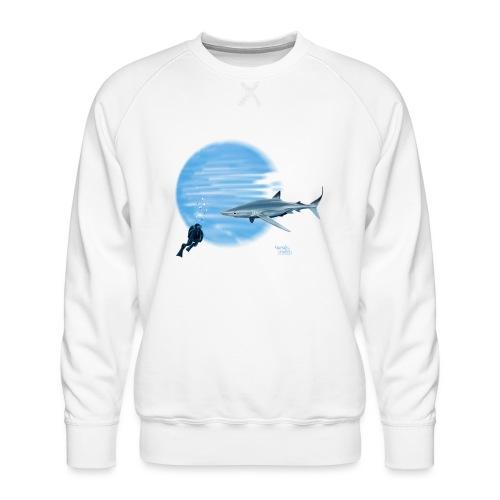 Grand requin et plongeur - Sweat ras-du-cou Premium Homme