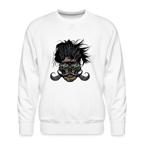 hipster skull tete de mort crane barbu moustache - Sweat ras-du-cou Premium Homme