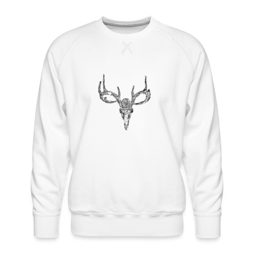Deer skull with rose - Miesten premium-collegepaita
