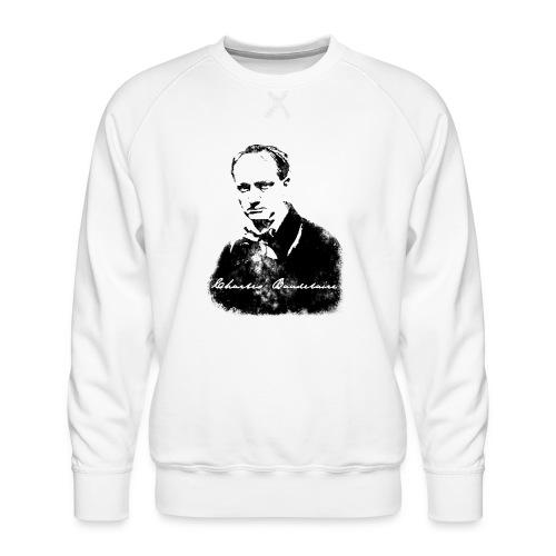 Baudelaire (fond blanc) + signature - Sweat ras-du-cou Premium Homme