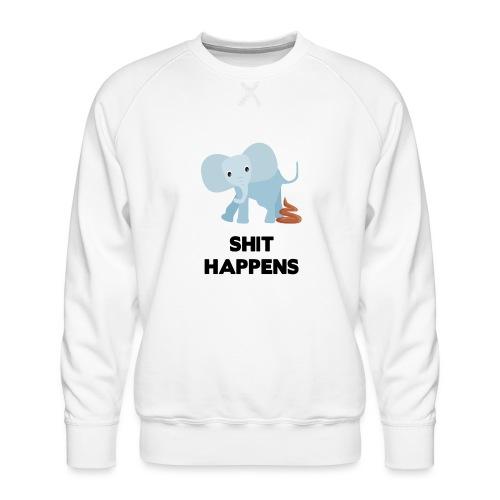 olifant met drol shit happens poep schaamte - Mannen premium sweater