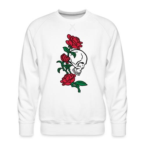 teschio e rose es123_2 - Felpa premium da uomo
