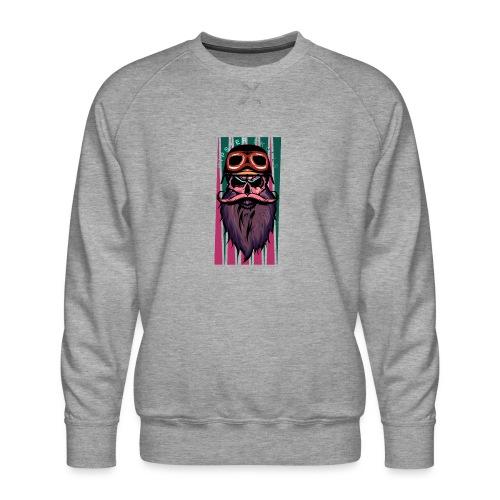 tete de mort hipster crane slull barbe moustache p - Sweat ras-du-cou Premium Homme