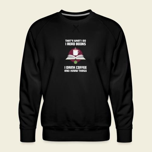 Buch und Kaffee, hell - Männer Premium Pullover