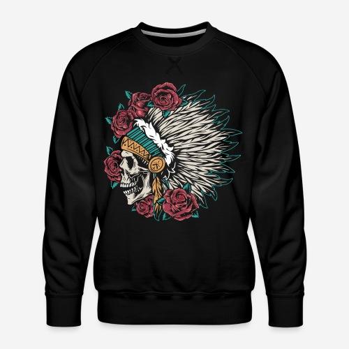 indian skull roses - Männer Premium Pullover