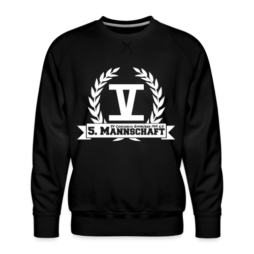 V mit College-Schriftzug - Weiß - Männer Premium Pullover