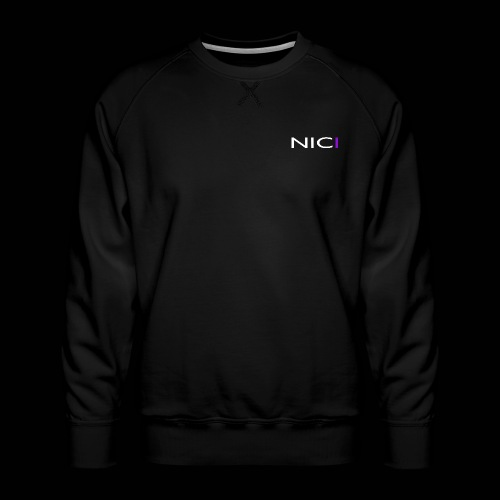 NICI logo WHITE - Miesten premium-collegepaita