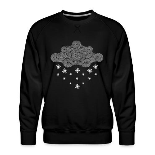 nuage gris et flocons vacances d'hiver - Sweat ras-du-cou Premium Homme