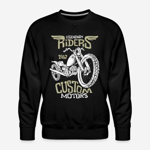 Vintage Biker Motorradfahrer Retro Straße - Männer Premium Pullover