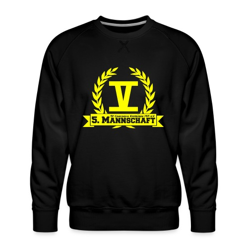 V mit College-Schriftzug - Gelb - Männer Premium Pullover