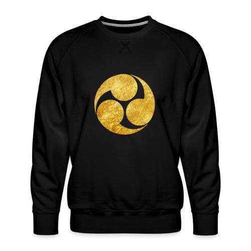 Kobayakawa Mon Japanese clan gold on black - Men's Premium Sweatshirt