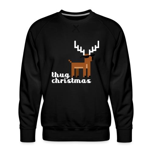Christmas Xmas Deer Pixel Funny - Men's Premium Sweatshirt