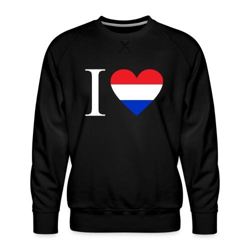 Ik hou van Nederland   Hart met rood wit blauw - Mannen premium sweater