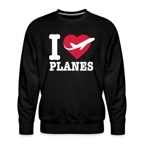 Rakastan lentokoneita - valkoisia - Miesten premium-collegepaita