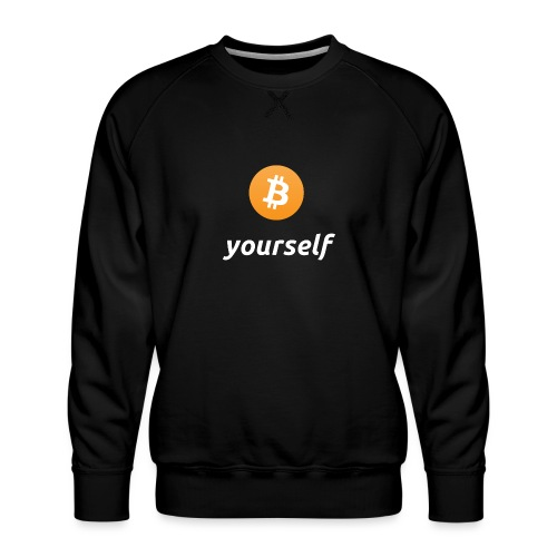 cryptocool b yourself white font -bitcoin logo - Mannen premium sweater
