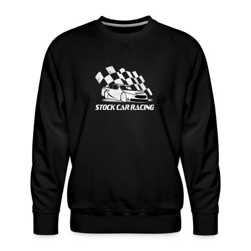 Stock Car Racing car and flag - Men's Premium Sweatshirt