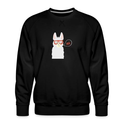 Llama with red glasses (white) - Herre premium sweatshirt