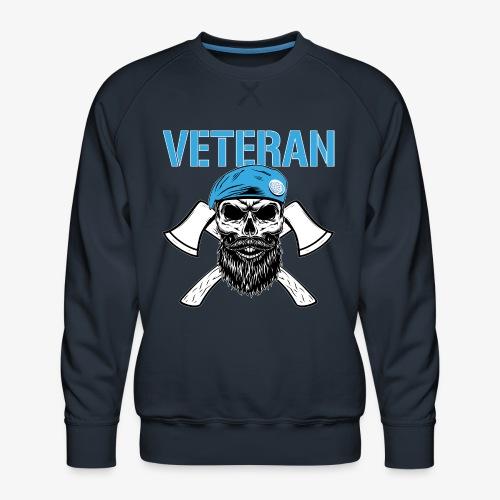 Veteran - Dödskalle med blå basker och yxor - Premiumtröja herr