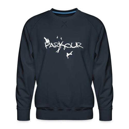 Parkour White Print - Herre premium sweatshirt