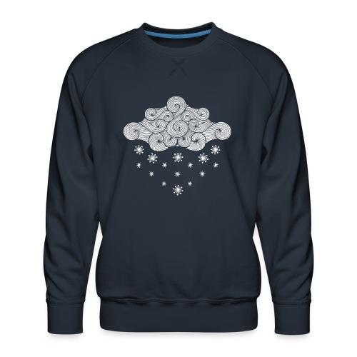 nuage blanc et flocons vacances d'hiver - Sweat ras-du-cou Premium Homme