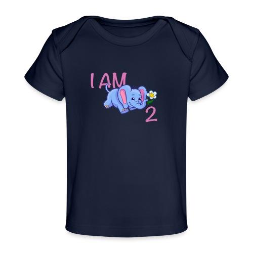 I am 2 - elephant pink - Organic Baby T-Shirt